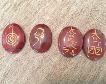 Red Jasper Engraved Usui Reiki Set - Root Chakra - Energy Healing