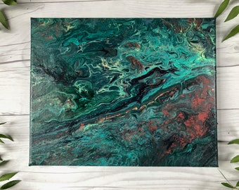 """Abstract Painting on Canvas - 8""""x10"""", Acrylic Pour Mixed Media - Teal, Green, Turquoise, Orange"""