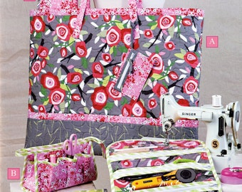 Sew On The Go Book by Cindy Taylor Oates features 5 projects, zipper pouches, travel bag, travel case, cutting mat carrier, jewelry roll