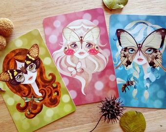Set of 3 Spring Fairies Postcards Postcrossing Snail Mail Woodland Fairy