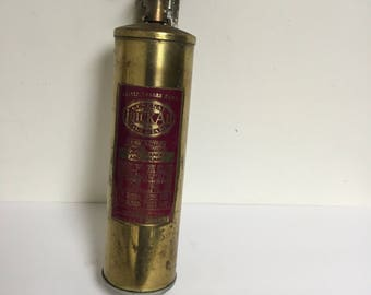 Vintage Brass Fire Extinguisher Wall Mount General Quick Aid Fire Guard