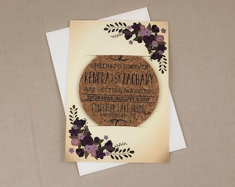 Vintage Eggplant and Purple Floral Cork Coaster Save the Date with A7 Envelope