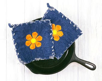 Denim Pot Holders - *NOT QUITE PERFECT sale - Orange Flower Power Pot Holders -Blue Potholders - Orange Flower Pot Holders