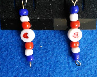 Red, white and blue beaded earrings with heart