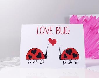 Love Bug Ladybird Anniversary Card - Ladybird Card - Anniversary Card - Love Bug Card
