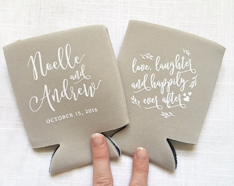 Love, Laughter, Happily Ever After Wedding Can Coolers, Leaves with Hearts, Personalized, Wedding Favors, Wedding Drinkware - T340