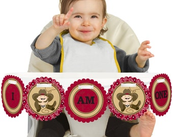 Little Cowboy - Western - 1st Birthday - I Am One - First Birthday High Chair Banner - First Birthday Party Decorations
