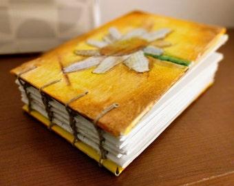 "Handmade Journal - The Daisy - Meraki art journal, sketchbook, diary, 4"" x 6"" notebook."