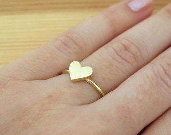 Heart Ring - Love Gold Ring - Solid Gold Ring - Heart Jewelry - Statement Ring - Dainty Ring - Gold Ring - Handmade Ring - Promise Ring