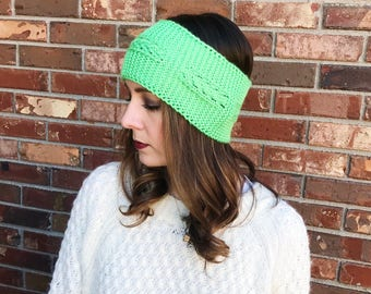 Lime Green Ear Warmer   Cable Knit Headband   Knit Headband   Warm Headwrap   Winter Headband   Winter Hat   Ready to Ship   AuntBarbsBands