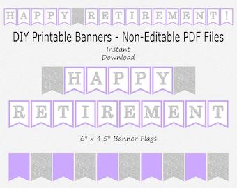 Happy Retirement Banner - Light Purple & Silver Sparkle - PRINTABLE - INSTANT DOWNLOAD