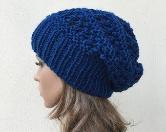 Hand knit hat - Oversized Chunky Wool Hat slouchy hat blue