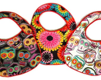 Folklorico Chuchulucos Baby Bibs Day of the Dead Skulls - set of 3 bibs