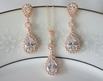 Rose Gold Bridal Jewelry Set, Wedding Jewelry for Brides Rose Gold, Rose Gold Bridal Earrings, Wedding Set, Pear Shaped Crystals