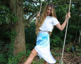 VANDA Blue Orchid Silk wrap Skirt
