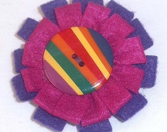 Felt Flower Pin in Koolaid Colors of Dark Purple and Magenta with A Large Colorful Button  F-18