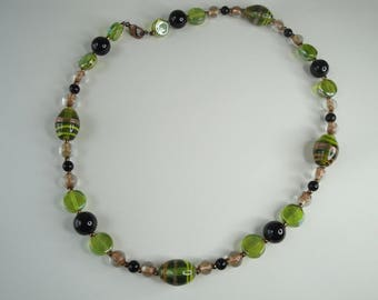 Green and gold Venetian Bead Necklace