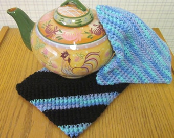 Crochet Potholder Blue and Black - Set of 2 Potholders/Trivet