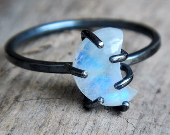 Moonstone Crescent Moon Ring - Oxidized Silver Ring - Lunar Ring - Moon Phase Ring - Gemstone Moon Ring - Moonstone Ring - Boho Ring