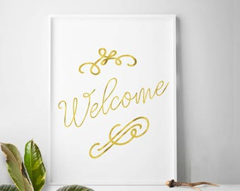 Home decor art, welcome print, foyer wall art, entry way wall art, apartment wall decor prints