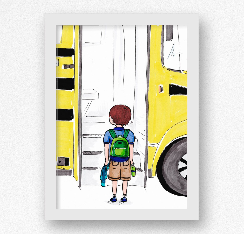Little Boy Wall Art Kindergarden Classroom Art Print Gift for