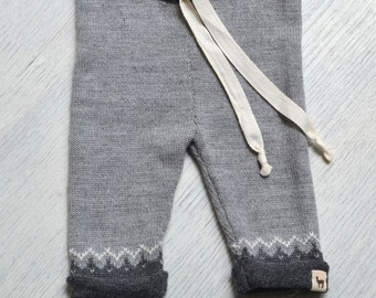 SAMPLE SALE Nordic pants knitted sweatpants for kids girl boy toddler gray pants for boy drawstring pants alpaca sweatpants kids joggers