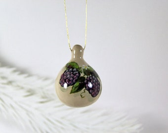 Hand Painted  Raspberries, Natural Gourd Ornament 36, Hand Painted Fruit, Purple Raspberry Art, Small Painted Gourd, Christmas Ornament Gift