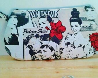Audrey pouch,Audrey travel, Audrey beauty bag, Audrey bag, Audrey Hepburn, makeup bag, fabric pouch,canvas pouch, canvas bag