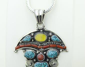 Unberlla Designs Turquoise Coral Native Tribal Ethnic Vintage Nepal Tibetan Jewelry OXIDIZED Silver Pendant + Chain P4332