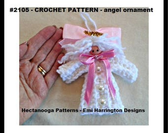 CROCHET PATTERN, Christmas Angel Ornament, Holiday decoration, tree ornament, easy beginner level, #2105 -