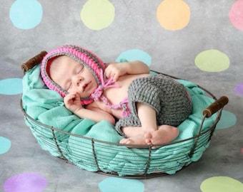 Crochet Striped Bonnet