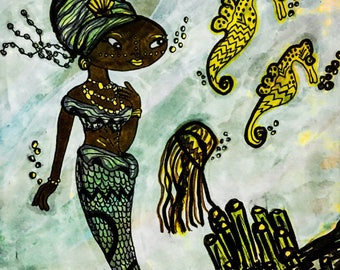 African mermaid, african, mermaid, art print, mermaid art, illustration, wall art, african american art, mermaid print, mermaid gift