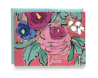 Hello Friend greeting card floral blank card
