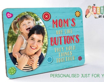 Mum's are Buttons, Wooden Photo Display, Photo Panel, Custom Retro Look, Family photo, Unique gift,