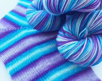 Hand dyed self striping merino sock yarn - Ice Queen