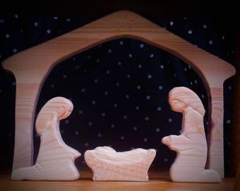 Wooden Nativity Set. 11 piece delux set.