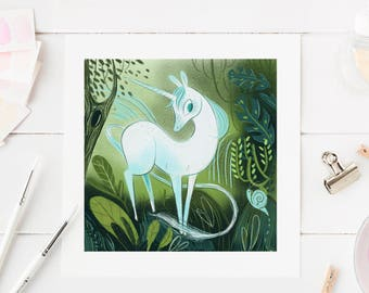 unicorn art print, unicorn painting, whimsical art, enchanted forest, kawaii art, illustration, unicorn decor, mystical art, fantasy gifts