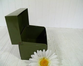 Metal Recipe Box 6 x 4 Inch File Card  Medium Size Holder - Vintage J Chen and Co. Military Fatigue Olive Green -Office Decor File Organizer