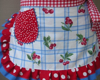 Womens Cherry Aprons - Sweet Cherry Aprons - Daisy Kingdom Aprons - Aprons - Red Cherry Fabric Aprons - Annies Attic Aprons -  Hostess Gifts