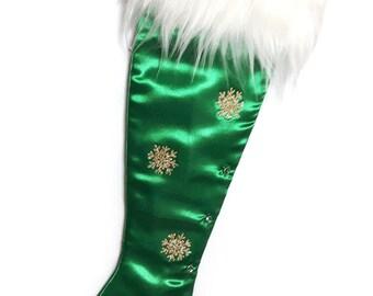 Precious Gems - Green Emerald  Stiletto Christmas Stocking