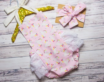 Baby Girl Unicorn Romper- unicorn Ruffle Romper, horse romper, unicorn birthday outfit, unicorn party outfit, rainbow unicorn romper