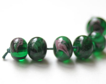 Glass Lampwork Beads - Green Violet