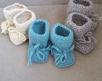 Baby Knit Booties, baby booties, Baby Shower Gift, Baby Boy Gift, Baby Girl Gift
