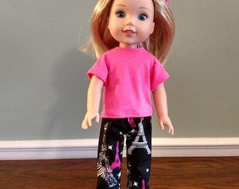 Paris Eiffel Tower print pajamas for Wellie Wisher Size Doll.  WP102