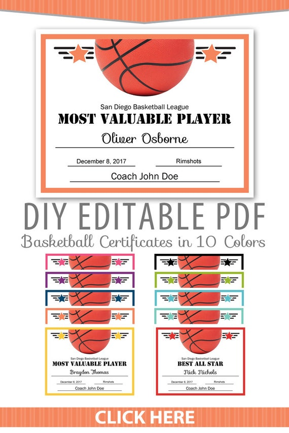 Editable Pdf Sports Team Basketball Certificate Award Template