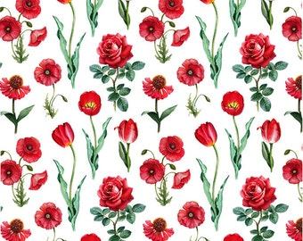 Red Field Of  Flowers - Ceramic Waterslide Decal - Enamel Decal - Fusible Decal - 41243