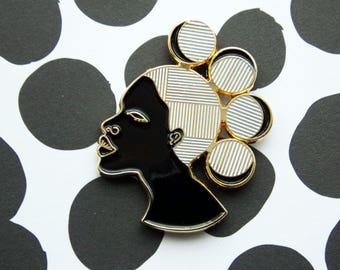 Afronaut Enamel Pin - Gold Plated - Enamel Pins - Brooch - African Inspired - Black Girl Magic - Afrocentric - Black Art - Melanin