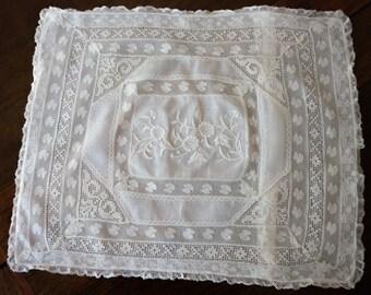 """Vintage Lace Sham, Normandy Lace, Small Boudoir Size 12"""" X 14"""", Excellent Condition, Collectible"""