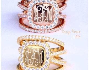 Monogram ring, monogram anastasia ring, monogram stackable ring