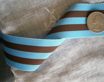 2 yds.of vintage millinery ribbon in a  chocolate and sky stripe yardage